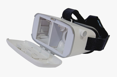 computer simulation: Front view of an open virtual reality headset in white ready for vr experience. Lenses are adjustable