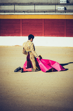 corrida: An kneeling bullfighter awaiting for the bull in the bullring. Corrida de toros