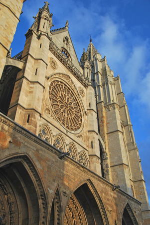 castile and leon: Side view of the facade of Leon Cathedral in gothic style. Leon, Castile and Leon, Spain