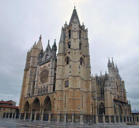 castile and leon: Gothic cathedral in Leon. Leon, Castile and Leon, Spain. Camino de Santiago Stock Photo