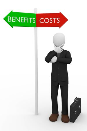 supplicate: A business man taking a decision about costs or benefits