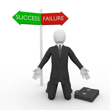 supplicate: Puzzled businessman on knees against of two signs of Failure and Success