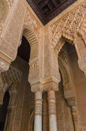 plasterwork: Arabesque decoration in Alhambra de granada, Granada, Andalusia, Spain