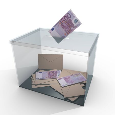 plebiscite: transparent ballot box with some votes and 500 euro banknotes. Corrupt politics and bribery concept