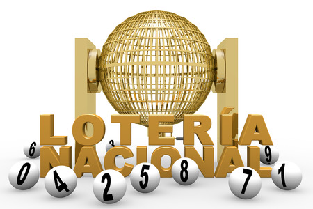 nacional: Circled golden lottery cage. National lottery. Loteria nacional