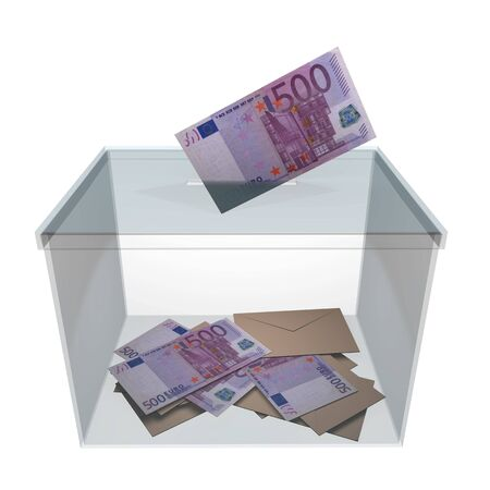 boodle: transparent ballot box with some votes and 500 euro banknotes. Corrupt politics and bribery concept