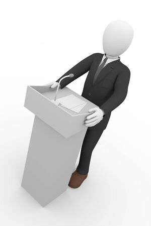 official: 3d rendering of businessman giving speech at rostrum.