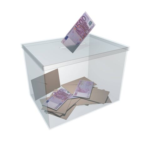 bribery: transparent ballot box with some votes and 500 euro banknotes. Corrupt politics and bribery concept