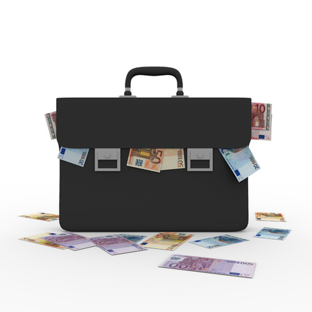 bribing: briefcase overflowing with money. Corruption and bribing concept