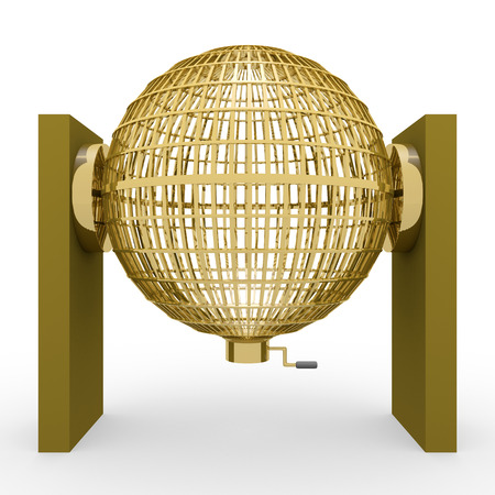 loosening: Circled golden lottery cage. National lottery. Loteria nacional