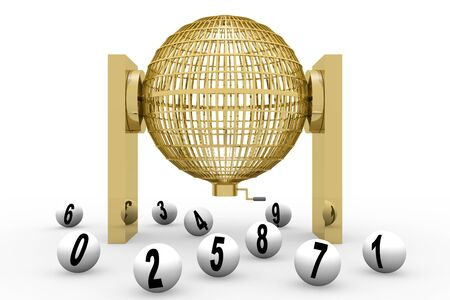 nacional: Circled golden lottery cage. National lottery with numbers. Loteria nacional Stock Photo