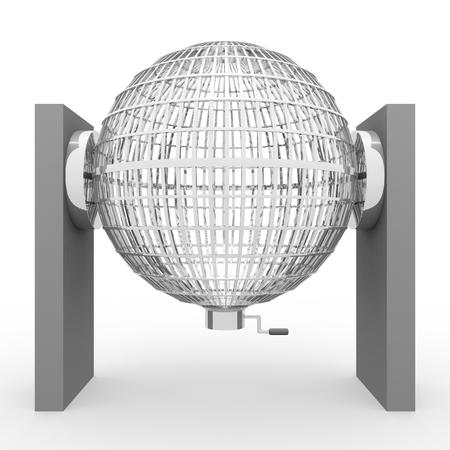 loosening: Circled silver lottery cage. National lottery. Loteria nacional