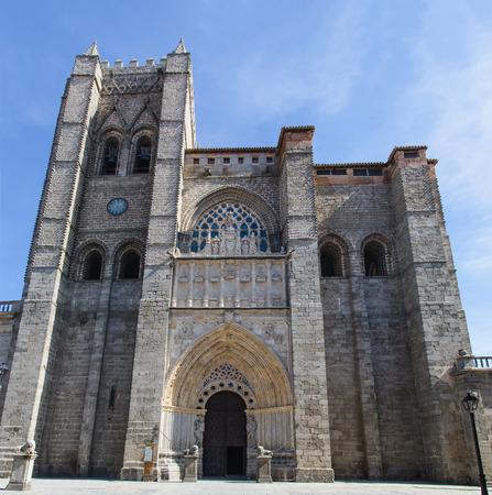 castile and leon: Facade of the gothic and romanesque cathedral in Avila. Castile and Leon, Spain