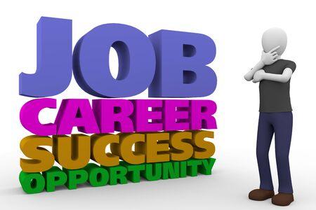hombre pensando: hombre preocupado pensando en trabajo, carrera, el éxito y oportunidades. Representación 3d, ilustración 3d