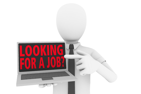 company job: A man pointing to laptop screen with the words looking for a job?. A company is hiring. 3d illustration Stock Photo