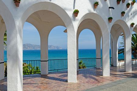 nerja: Balcon de Europa in the touristic city of Nerja. Costa del Sol. Malaga, Andalusia, Spain Stock Photo