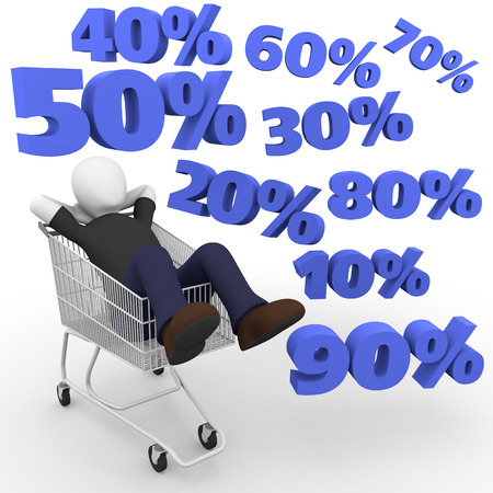 person thinking: A man lying on the shopping cart and thinking about discounts. Percent discount. 3d illustration