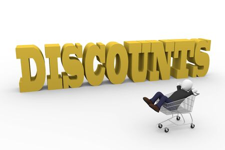 lying in: A lying man thinking about discounts in commerce. 3d render Stock Photo