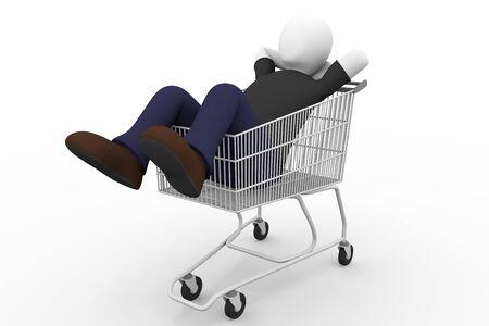 スーパー マーケットのカートの上に横たわる男。ショッピング体験を楽しんでいます。3 d イラストレーション