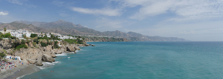 Panoramic view on the coast of Nerja as seen from balcon de Europa. Costa del Sol. Malaga, Andalusia, Spain Stock Photo