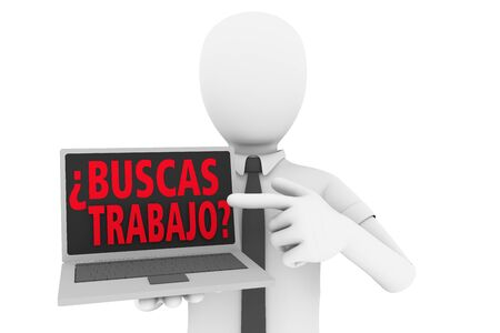 trabajo: A man pointing to laptop screen with the words ¿buscas trabajo?. Buscas trabajo is the spanish traslation of looking for a job. 3d illustration Stock Photo