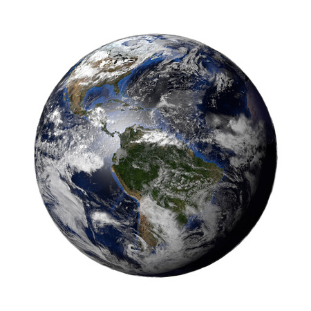 planet earth: 3d render of a Planet Earth model showing city lights at night and sun light at day. Earth globe isolated.