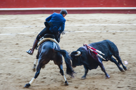 Blurred picture of rejoneador in motion riding a black horse during a bullfight