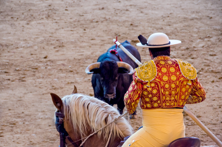 lance: A picador holds the lance in front of the bull in a bullfight Stock Photo