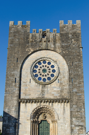 rebuilt: Facade of Saint Nicholas fortified church in Portomarin, Lugo, Galicia, Spain. This church was dismantled, moved and rebuilt brick by brick. Camino de Santiago, Saint James way. Stock Photo