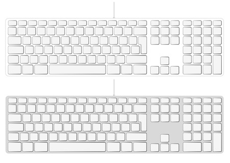 input device: Blank extended aluminum keyboard isolated on white. Vector illustration. You can put your own characters in blank keys Illustration