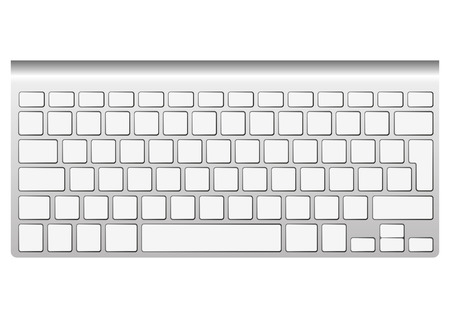 input device: Blank aluminum keyboard isolated on white. Vector illustration. You can put your own characters in blank keys
