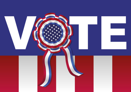 voter registration: American presidential elections. Vector illustration encouraging to vote with a cockade and american colors, stars and stripes Illustration