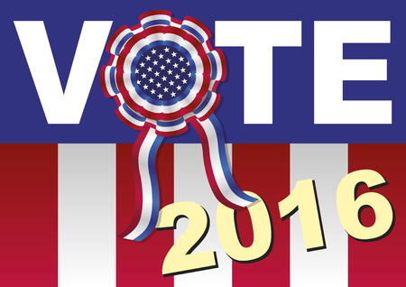 polling: American presidential elections. Vector illustration encouraging to vote with a cockade and american colors, stars and stripes Illustration