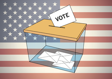 votes: America elections for president. Transparent ballot box with some votes into envelopes over an american flag. Vector illustration Illustration