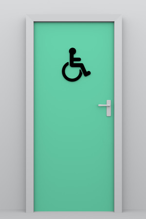 public figure: Toilet door for handicapped persons. Accessibility for disabled persons concept. 3d illustration, 3d rendering