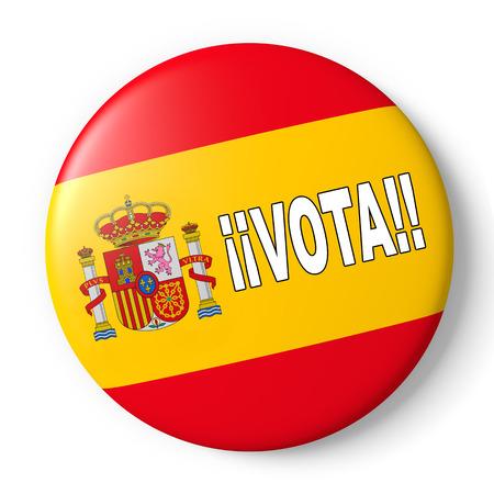 responsibility survey: Spain badge encouraging vote for spanish presidential election. 3d render, 3d illustration