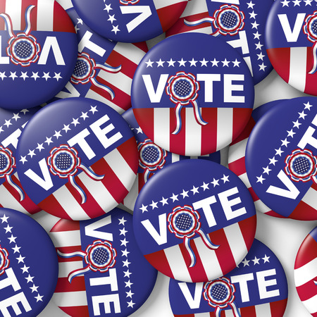 encouraging: buttons encouraging vote for american presidential election. 3d render, 3d illustration Stock Photo