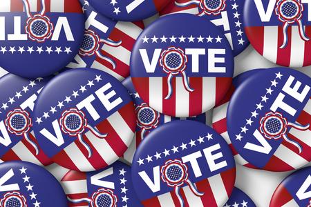 responsibility survey: badges encouraging vote for american presidential election. 3d render, 3d illustration Stock Photo