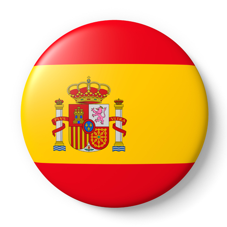 spanish flag: Shiny spain badge with spanish flag. 3d render, 3d illustration