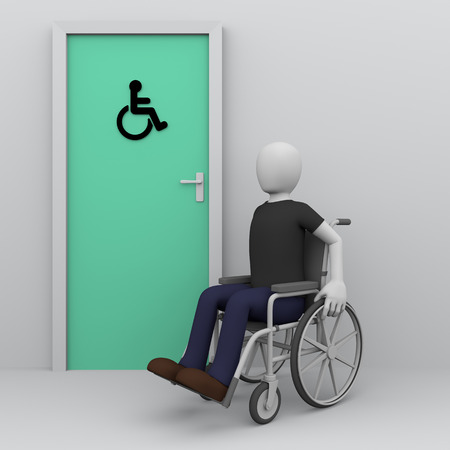 accessibility: Wheelchair man awaiting in the door of toilet for handicapped persons. Accessibility for disabled persons concept. 3d illustration, 3d rendering