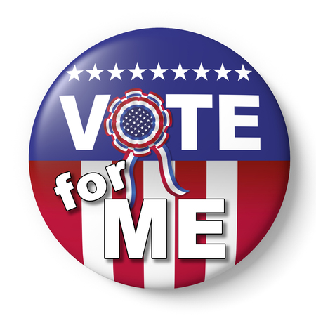 encouraging: Vote for me button. Badge encouraging vote for american election
