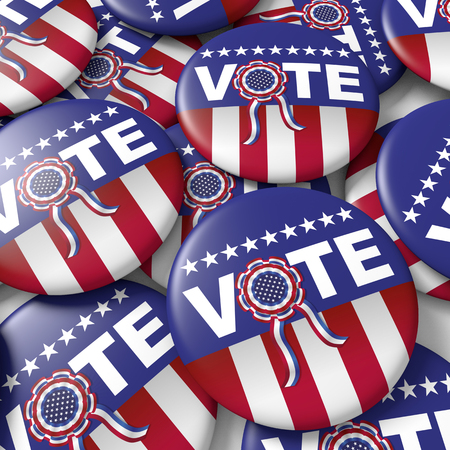 round button: badges encouraging vote for american presidential election. 3d render, 3d illustration Stock Photo
