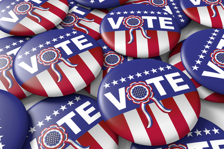 badges encouraging to vote in american presidential election. 3d render, 3d illustration