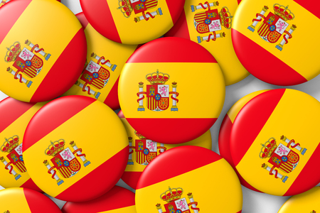 made in spain: Background made with shiny spain badges with spanish flag. 3d render, 3d illustration