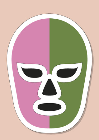 shirtless: Mexican mask used in fighting. Typical costume for fighters in mexican lucha libre combats. Vector illustration Illustration