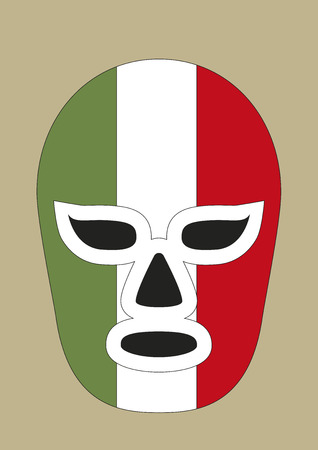 Mexican mask used in fighting. Typical costume for fighters in mexican lucha libre combats. Vector illustration Illustration