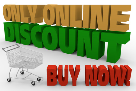 big letters: big letters and a shopping cart announcing only online discounts. 3d rendering. 3d illustration