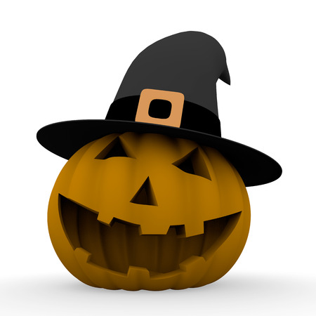 pointy hat: spooky halloween pumpkin with a black witch pointy hat. 3d render. 3d illustration