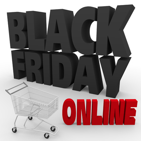 cart: big black letters and a shopping cart announcing black friday discounts online. 3d render. 3d illustration