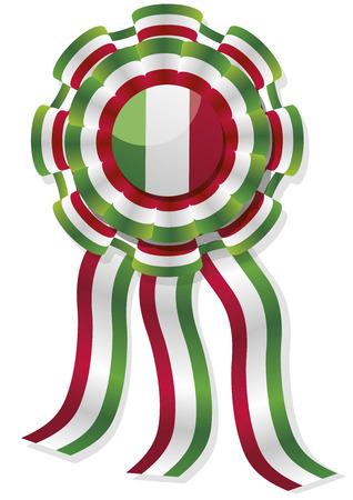 cockade: mexican cockade with mexico flag colors. vector illustrations